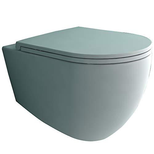 Alpenberger Spülrandloses Hänge-WC aus Keramik 53 x 36,5 cm | Rimless Toilette inkl. abhnembaren WC-Sitz mit Soft-Close | Wand-WC ohne Spülrand inkl. Befestigungsmateriale | Elegantes Design