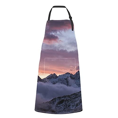 JOCHUAN Autunno Bellissimo Paesaggio Valle Nuvole Grembiuli Da Cuoco Per Le Donne Con Tasche Autunno Bellissimo Paesaggio Valle Nuvole Cravatta Regolabile Con Tasche Per Adulti