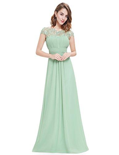 Ever-Pretty Vestiti da Sera e Cerimonia Donna Linea ad A Elegante Stile Impero Chiffon Abiti da Damigella d'Onore Menta Verde 36