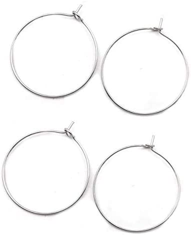 200pcs 316 Grade Stainless Steel Hypoallergenic 20mm Round Hoop Connector for Earrings Pendant product image