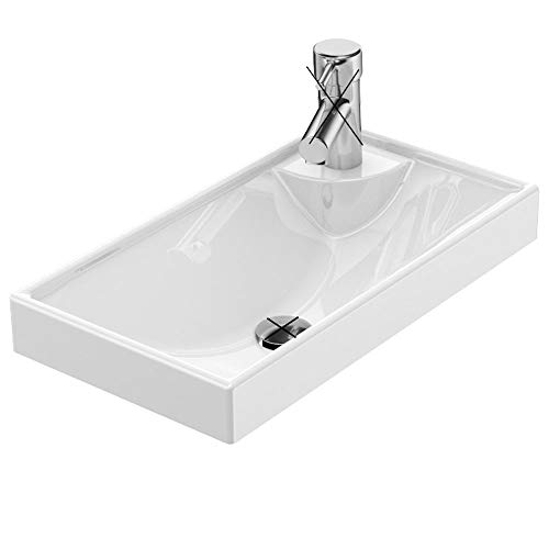 Gäste WC Waschbecken zur Wandmontage, Mini-Waschbecken für kleine Bäder, eckig 40x22cm