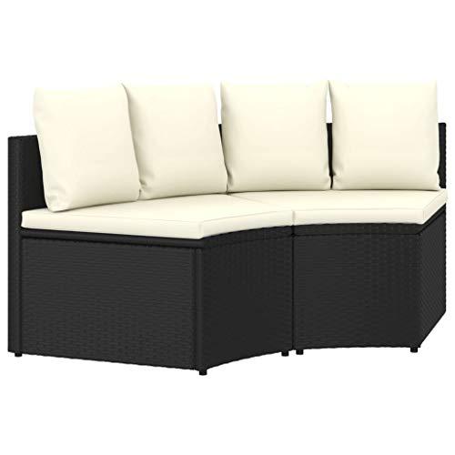 vidaXL Gartenmöbel 2-TLG. mit Auflagen Lounge Sofa Sitzgruppe Garnitur Gartensofa Gartenset Sitzgarnitur Terrasse Poly Rattan Schwarz
