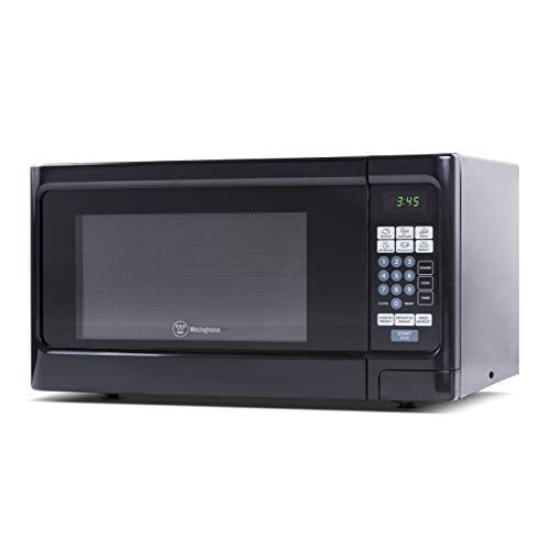 Countertop 1.1 Cubic Feet Microwave Oven, 1000 Watt, Stainless Steel Front with Black Cabinet, Commercial Chef CHCM11100B (Renewed)