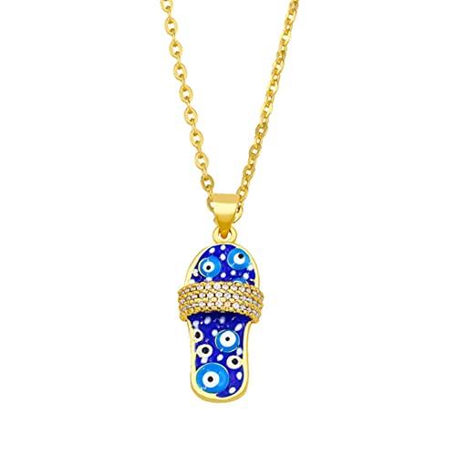 SALAN Bonito Collar De Zapatilla Esmaltada para Mujer Chapado En Oro Azul con Colgante De Mal De Ojo Collar Cz Pave Al por Mayor Joyería Regalos