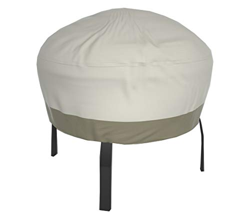 Wisteria Lane Patio Fire Pit Cover,Durable Waterproof Dustproof Veranda Outdoor Round 44 inches Fireplace Cover,(Beige & Brown)