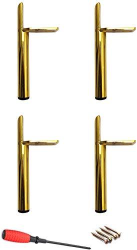 Meubelpoten, tafelpoten, watervast, zelfbouw kastpoten, geschikt voor diverse soorten bedden, stoelen, badkamers, antislip, goud, 13 cm.