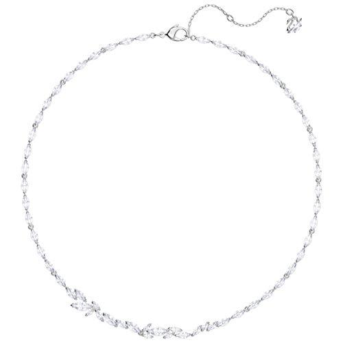 SWAROVSKI Collar de cristal auténtico Louison, blanco, chapado en rodio, joyería de moda hipoalergénica en tono plateado, elegante sin níquel y piedra con tachuelas colección de accesorios para mujer