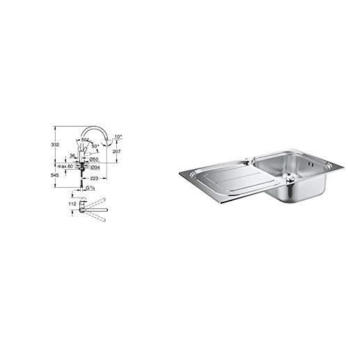Grohe Bauflow - Grifo de cocina, monomando de fregadero con acabado cromado (31538001) + GROHE 31563SD0 - K300 Fregadero de acero inoxidable con escurridor