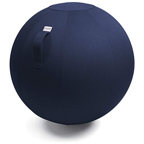 VLUV LEIV Stoff-Sitzball, ergonomisches Sitzmöbel für Büro und Zuhause, Farbe: Royal Blue (blau), Ø 70cm - 75cm, Möbelbezugsstoff, robust und formstabil, mit Tragegriff