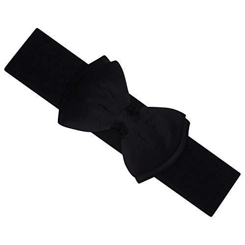 Ro Rox Vera Cinturón Ancho Elástico 1950 Vintage Retro Pin-Up Lazo Satén - Negro