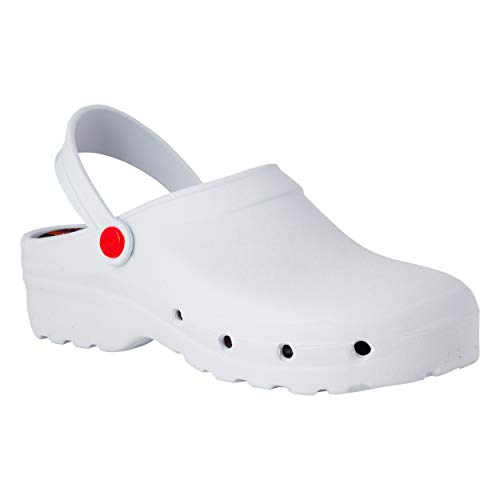 REPOSA Light Shock Zuecos Sanitarios, Zapatos de enfermería, Material eva Zapatos Sanitarios cómodos con capellada Superior Cerrada, Agujeros Laterales, Plantilla anatómica (Blanco, Numeric_40)
