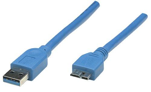 Manhattan 325424 SuperSpeed USB 3.0 Anschlusskabel (A-Stecker / Micro-B-Stecker) 2 m blau