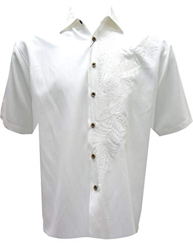 Bamboo Cay Men's Island Leaf Nation Tropical Style Embroidered Camp Shirt (X-Large, Off White)