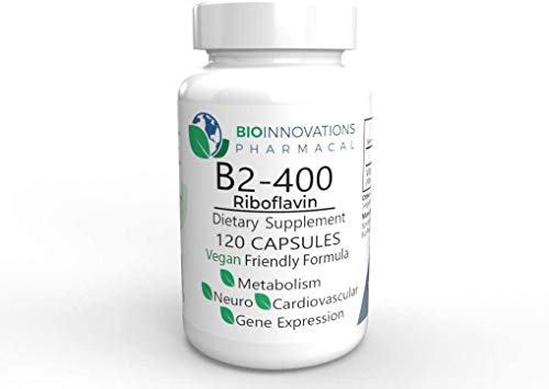 Bio-Innovations Pharmacal - Pure B2-400 Riboflavin (120 Vegan Capsules) Supports Nervous System Health, Helps Boost Energy and Metabolism