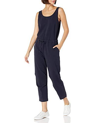Daily Ritual Stretchcotton Knittwill Drawstring Waist Sleeveless Jumpsuits-Apparel, Navy, L