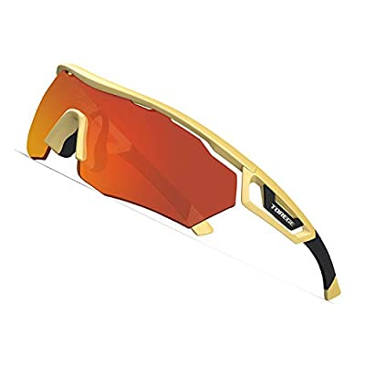 TOREGE Polarized Sports Sunglasses with 3 Interchangeable Lenes for Men Women Cycling Running Driving Fishing Golf Baseball Glasses TR05 (Gold Frame&Red Lens)