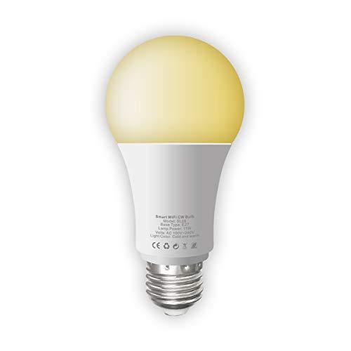 WiFi Smart Light Bulb Tunable Soft White to Daylight (2700K-6500K) 100W Equivalent Dimmable Sunrise E27 Smart Light Bulb Nessun hub necessario Compatibile con Alexa e Google Home Assistant
