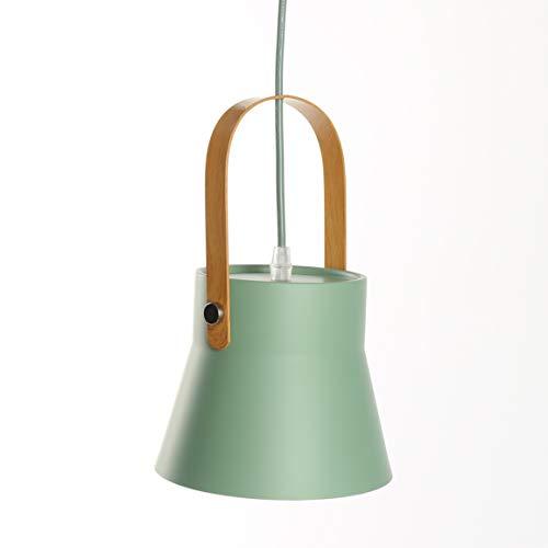 Minimalista Moderno Colgantes Lámpara de Metal Ligero Sombra Revestimiento de Madera Manija...
