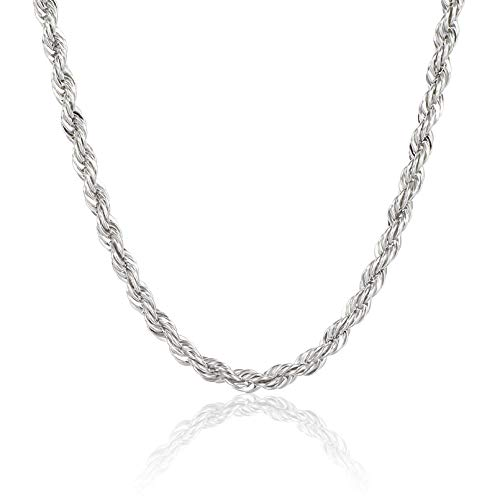 WHIPPY Mens Rope Chain Stainless Steel Twist Link Chains Rope Necklaces for Men Women Silver 2.5mm - 16 Inches