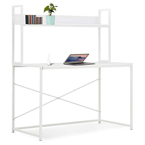 Zerone. Mesa de Computadora de Moderna Blanca, Escritorio para Ordenador para Oficina y Estudio 120 x 60 x 138 cm