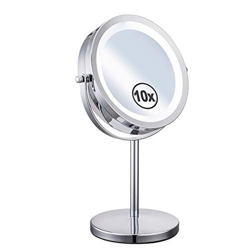 Miroir de maquillage à LED double face 10 fois miroir grossissant 7 pouces à piles, rotation à 360 degrés 92