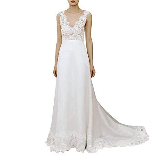 Kleider Damen Hochzeitskleid Damen V-Ausschnitt Spitze Applikationen Court Belt Brautkleider Brautkleider für die Hochzeit, LIFU, Weiß, 24w