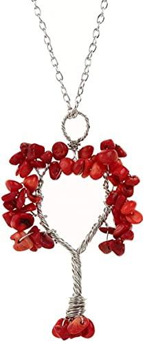 Collar Mujer Collar Hombre Colgante Collar con colgante en piedras naturales Cadena de plata envuelta a mano Árbol de la fortuna Coral Stone Red Reiki Power Stone Colgante Joyas Regalos Aniversario Re