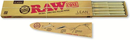 RAW Classic Natural Unrefined Pre Rolled Cones - 20 Cones Per Pack - Lean Size (1 Pack)