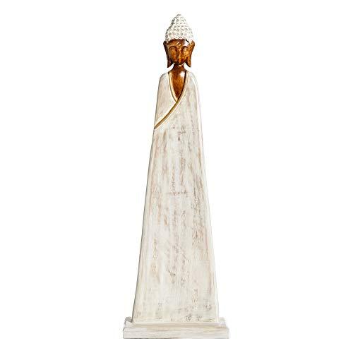 Figura Buda de Madera Blanco rozado de 33x16x105 cm - LOLAhome