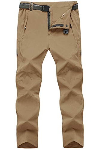 TBMPOY Men's Windproof Athletic Pants for Outdoor and Multi Sports Hiking Breathable Pants(03 Thin Khaki,us M)