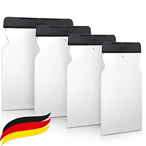 PETITONE Profi Japanspachtel Set - 4tlg Spachtel aus rostfreiem Edelstahl - Made in Germany - Flächenspachtel Set - besonders Langlebiges Spachtel Set - Malerspachtel - entfernt Tapeten einfach