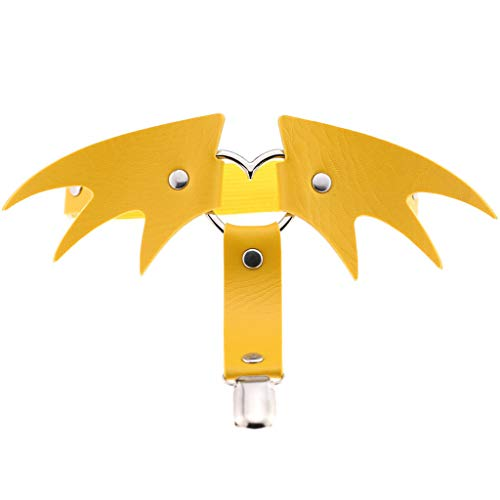 CUCUDAI feminino estilo punk cinta-liga de couro falso de metal coração halloween batwings anel de coxa ajustável arnês gótico joias clubwear-amarelo