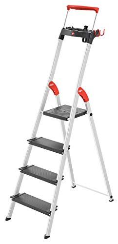 Hailo L100 TopLine, Alu-Sicherheits-Stehleiter, mit Multifunktions-Schale, ausziehbarer Sicherheits-Haltebügel, 4 Stufen, Plattformverriegelung und XXL Stufen, schwarz, Made in Germany, 8050-407