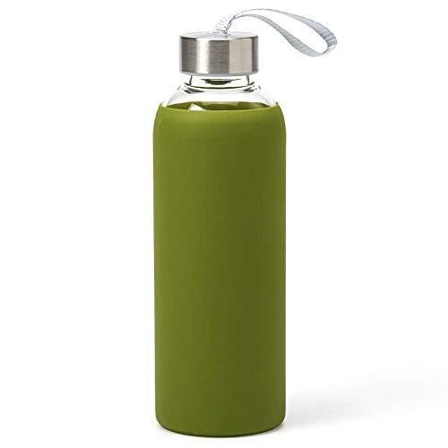Mosako Botella de agua de cristal borosilicato con tapa y funda, botella de deporte reutilizable para gimnasio, oficina, yoga, 550 ml (verde)