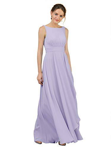 Alicepub Boat Neck Long Bridesmaid Dresses Chiffon Formal Party Evening Dress for Women, Lilac, US10