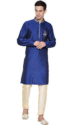 SKAVIJ Herren Tunika Kurta Pajama Set Paisley Kleid (Blau, L)
