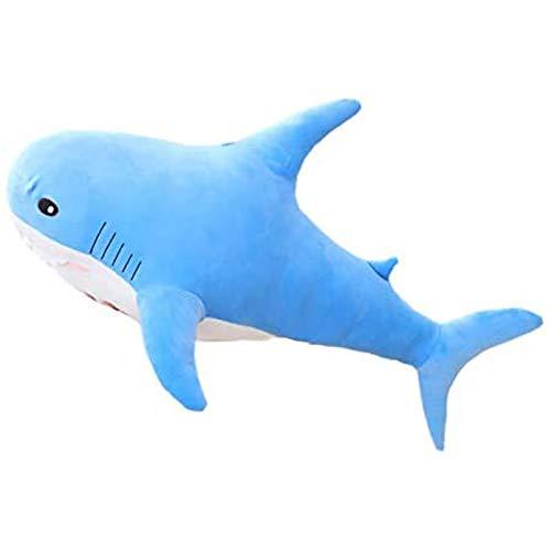 Boufery Muñeco de Animales de Peluche de tiburón, Almohada de Animales de Peluche Suave, muñeco de apaciguar el sueño del bebé, Regalo para niños de 80 cm (Azul)