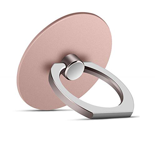 MuStone Phone Stand, Round-Shaped Cell Phone Ring Support Holder, 360 Degrees Rotating Metal Stand Support for iPhone series, Samsung Galaxy series, Samsung Note series, Huawei series (Rose Gold)