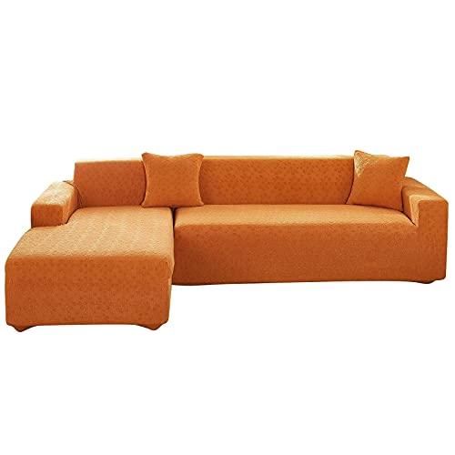 HMHMVM Funda de sofá seccional, elástica en forma de L, fundas de sofá de tela de poliéster y elastano, protector de muebles de 2 piezas para sala de estar