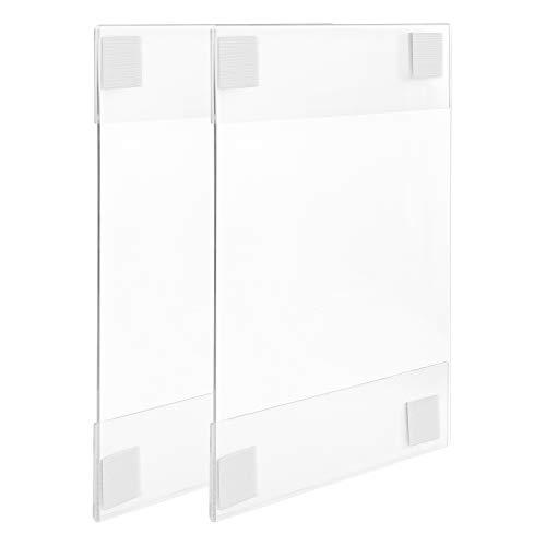 Amazon Basics - Portadepliant in acrilico, con gancio e anello, adesivo, formato A4, confezione da 2