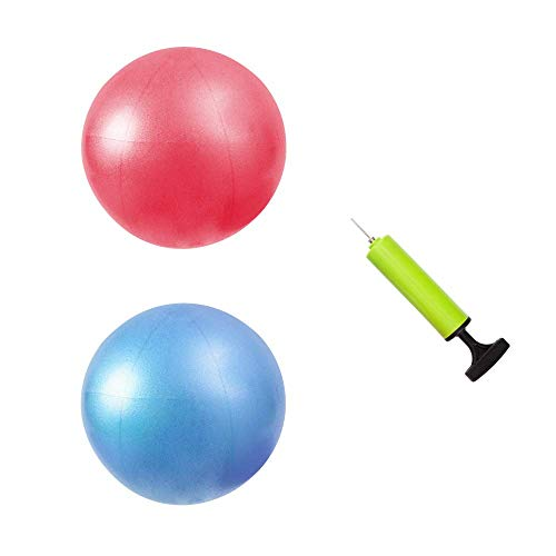 """MU-MOON Mini Fitness Exercise Ball Kit with Hand Pump for Yoga, Pilates, Body Balance, Core Training and Stability, 8"""""""