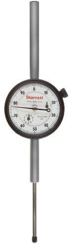 """Starrett 25-5041J Dial Indicator, Long Range, 0.375"""" Stem Dia., Lug-on-Center Back, White Dial, 0-100 Reading, 2.25"""" Dial Dia., 0-5"""" Range, 0.001"""" Graduation"""