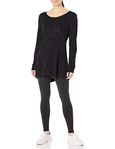 Hanes Women's Lightweight Spacedye Vented Tunic, Black, Medium