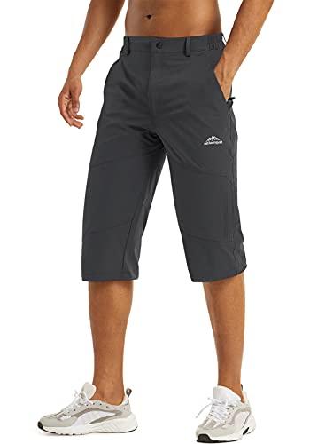 Capri Pants for Men 3/4 Running Shorts Zipper Pockets Hiking Shorts Men Stretch Cargo Shorts for Men Outdoor Bicycle Shorts Dark Grey