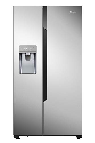 Hisense Refrigerador NoFrostPlus RS694N4TC2 Inverter Compresor FastFreeze, dispensador de agua helada, 178,6 cm, parte fría 371 l, parte congeladora 191 l, 42 dB, 404 kWh/año, aspecto inoxidable