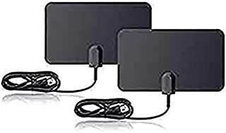 HQTV Flat HD Digital Indoor TV Antenna 2 Pack Bundle - 25 Miles Range