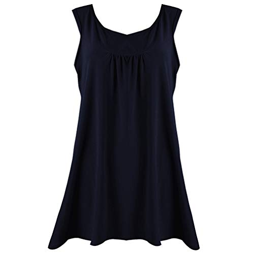 QingJiu Damen Lange Bluse Tops Blackless ärmelloses Shirt Roubd Hals Frauen Hemd Sweatshirt Oberteil Wams