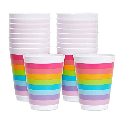 16 oz Plastic Tumbler Cups for Kids, Rainbow Party Supplies (16 Pack)