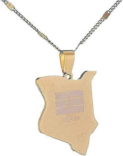 Aluyouqi Co.,ltd Collar Collar de Acero Inoxidable Mapa de Kenia Collares Pendientes Mapa del país Regalos de joyería de África