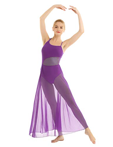 Agoky Vestido de Danza Mujer Clásica Maillots Ballet Baile Leotardo Gimnasia con Tutú Falda Larga de Gasa para Danza Contemporanea Sevillanas Flamengo Niñas Morado Medium